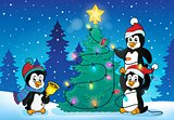 Penguins near Christmas tree theme 4