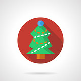 Red round vector icon for Xmas tree