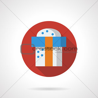 Red round vector icon for Xmas gift