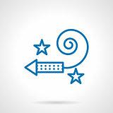 Simple blue line firecracker vector icon
