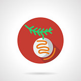 Red round vector icon for Xmas bauble