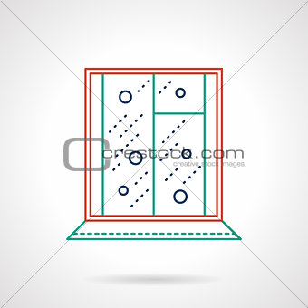 Flat color line window vector icon