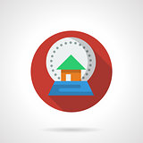 New Year snow globe red round flat vector icon