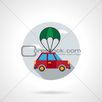 Car with parachute flat vector icon