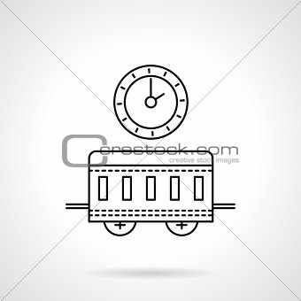 Time to travel flat line vector icon