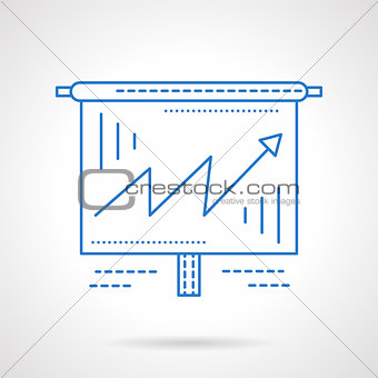 Business growing chart  blue line vector icon