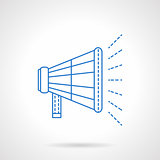Loudspeaker flat blue line vector icon