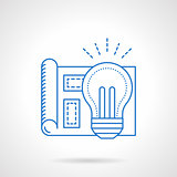 Bulb light idea blue flat line vector icon