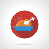 Roasted turkey red round flat vector icon