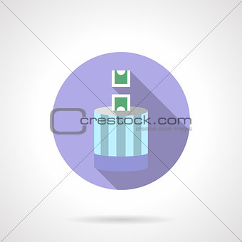 Flat round vector icon for donation