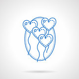 Heart balloons blue flat line vector icon