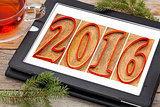 year 2016 in wood type on tablet