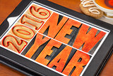 New Year 2016 in wood type