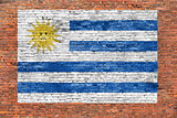 Flag of Uruguay painted on brick wall