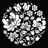 Kalocsai white embroidery - Hungarian round floral folk art pattern on black