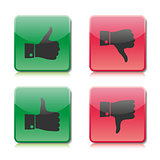 A set of buttons like and dislike, vector illustration