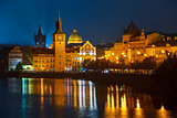 Evening over river Vltava near Charles bridge in Prague