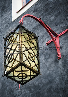 Beautiful lantern on a wall of the house in Tallinn
