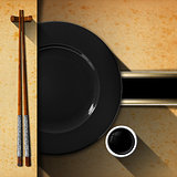 Asian Menu with Wooden Chopsticks