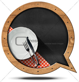 Blackboard with Plate and Cutlery