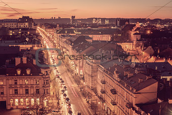 Old Town in Vilnius, Lithuania: Gediminas avenue, main representative street