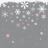 Winter snowflakes grey background