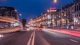 Minsk, Belarus: Lenin, Bolshevik Murder, street in the sunset