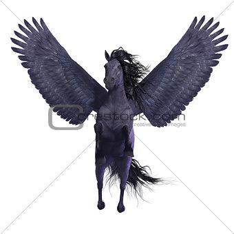 Black Pegasus on White