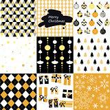 Merry christmas, seamless pattern set background