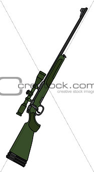 Green rifle with a telescope
