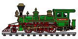 Old green american steam locomotive