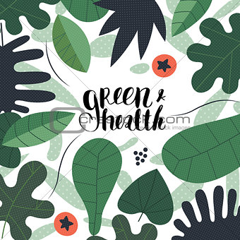 Green and health lettering