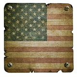 Rusty metal plate with american flag
