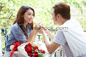 Asian romantic young couple enjoy Valentine