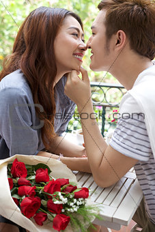 Asian romantic young couple enjoy Valentine