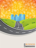Road design brochure with sunset background