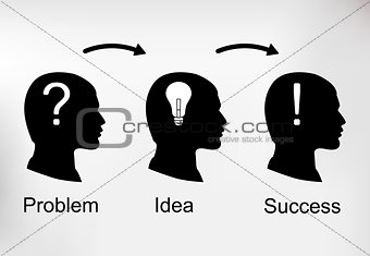 Background infographics with silhouette of human heads, business icons and text. Business concept - the problem, the idea and success