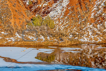 water, snow, ice and red mountains