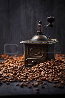 Antique vintage retro bronze coffee mill