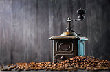 Antique vintage retro bronze coffee mill