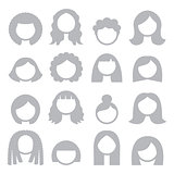 Woman grey hair styles, wigs icons