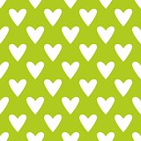 Tile vector pattern with white hearts on green background