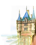 Hand made sketch of old French castle