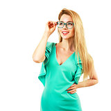 Smiling Young Woman in Glasses Isolated on White