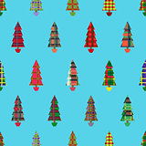 Christmas tree seamless pattern over cyan