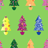 Christmas tree seamless pattern over green
