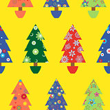 Christmas tree seamless pattern over yellow