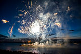 colorful fireworks on the sky background over-water