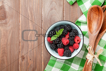 Blackberries and raspberries bowl
