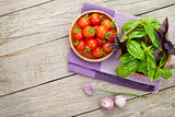 Fresh farmers tomatoes and basil